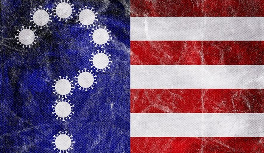 Question Flag and COVID-19 Illustration by Greg Groesch/The Washington Times