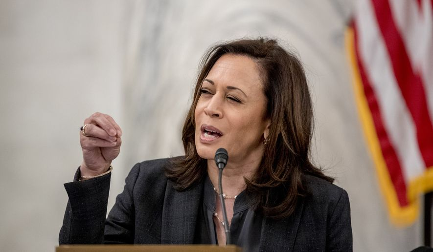 Sen. Kamala Harris, D-Calif., speaks as the Senate Homeland Security and Governmental Affairs Committee meets on Capitol Hill in Washington, Wednesday, May 20, 2020, to issue a subpoena to Blue Star Strategies. (AP Photo/Andrew Harnik) ** FILE **