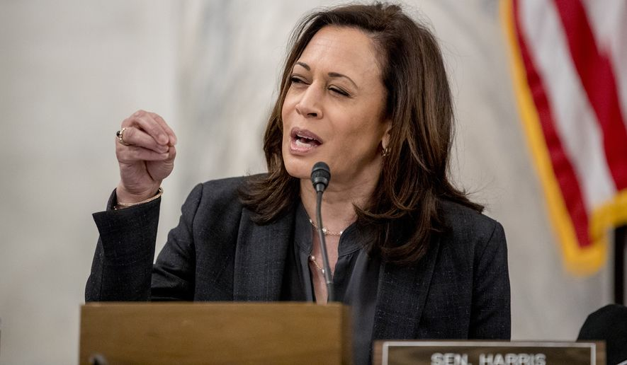 Sen. Kamala Harris, D-Calif., speaks as the Senate Homeland Security and Governmental Affairs committee meets on Capitol Hill in Washington, Wednesday, May 20, 2020, to issue a subpoena to Blue Star Strategies. (AP Photo/Andrew Harnik)