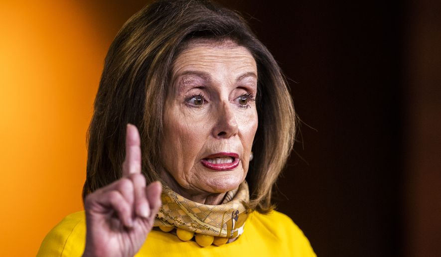 House Speaker Nancy Pelosi of Calif., speaks during a news conference on Capitol Hill, Wednesday, May 20, 2020, in Washington. (AP Photo/Manuel Balce Ceneta)