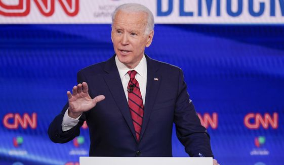 In this Sunday, March 15, 2020, file photo, former Vice President Joe Biden participates in a Democratic presidential primary debate at CNN Studios in Washington. (AP Photo/Evan Vucci, File)