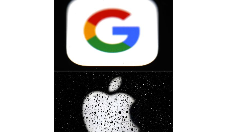 This combo of photos shows the logo for Google, top and Apple, bottom.  Apple and Google on Wednesday, May 20, 2020,  released long-awaited smartphone technology to automatically notify people if they might have been exposed to the coronavirus. (AP Photo/File)