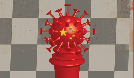 Illustration on Communist strategy by Linas Garsys/The Washington Times