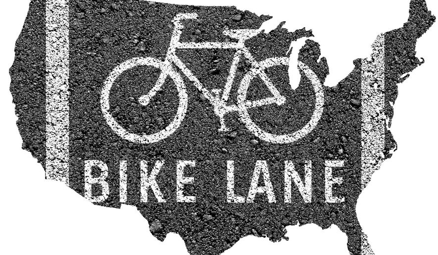 Illustration on the need for new national infrastructure for bicycles by Alexander Hunter/The Washington Times