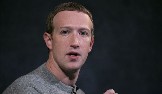 This Oct. 25, 2019, file photo shows Facebook CEO Mark Zuckerberg speaking at the Paley Center in New York. (AP Photo/Mark Lennihan) ** FILE **