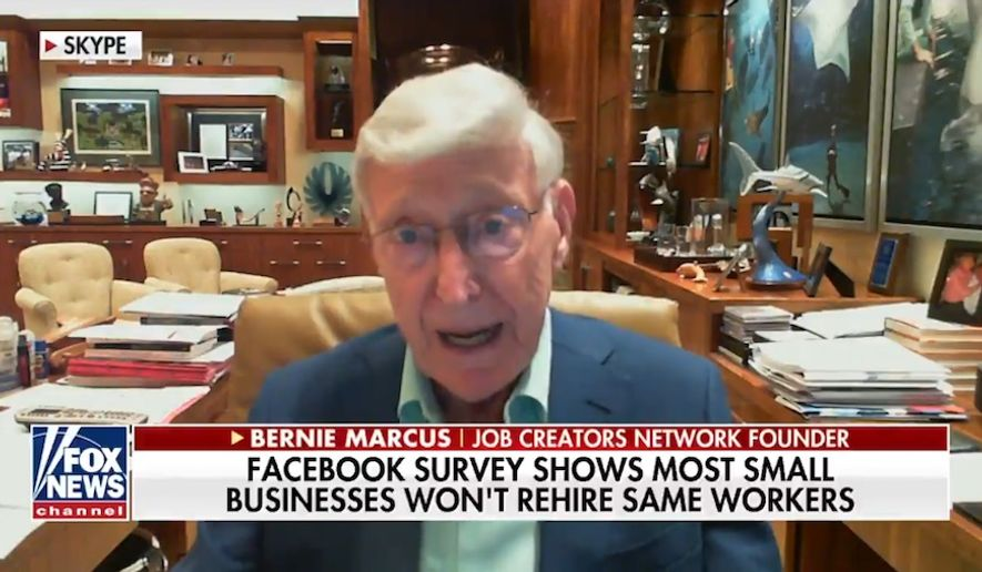 "Home Depot co-founder and billionaire philanthropist Bernie Marcus said in a May 19, 2020 interview that the mainstream media has done a ""wonderful job"" of frightening Americans during the coronavirus pandemic. (screengrab via Fox News)"