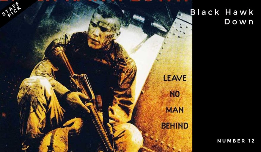 Number 12: Black Hawk Down | Directed by Ridley Scott in 2001, it is based on the 1999 non-fiction book of the same name by Mark Bowden, chronicling the events of a 1993 raid in Mogadishu by the U.S. military aimed at capturing faction leader Mohamed Farrah Aidid, and the ensuing firefight, known as the Battle of Mogadishu.