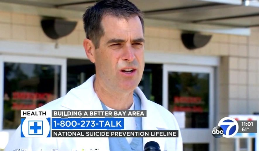 Dr. Mike deBoisblanc of John Muir Medical Center in Walnut Creek discusses the rise in suicide attempts in the Bay Area as the nation also deals with the coronavirus pandemic, May 21, 2020. (Image: ABC-7 San Francisco video screenshot)