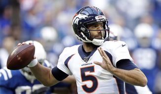 In this Oct. 27, 2019, file photo, Denver Broncos quarterback Joe Flacco (5) throws during the first half of an NFL football game against the Indianapolis Colts in Indianapolis. The New York Jets and Flacco have agreed to terms on a one-year deal, the 2013 Super Bowl MVP's agency announced on Twitter. (AP Photo/Michael Conroy, File)  **FILE**
