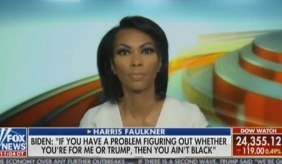 "Fox News star Harris Faulkner talks about former Vice President Joe Biden's ""you ain't black"" assertion during a May 22, 2020 interview he had with radio host Charlamagne Tha God. (Image: Fox News video screenshot)"