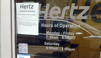 A Hertz Car Rental is closed during he coronavirus pandemic on Wednesday, May 6, 2020 in Paramus, N.J. (AP Photo/Ted Shaffrey)