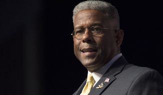 In this Thursday, June 19, 2014, file photo, former congressman and retired Lt. Col. Allen West speaks during Faith and Freedom Coalition's Road to Majority event in Washington. West was injured in a motorcycle crash Saturday, May 23, 2020, in Texas. (AP Photo/Molly Riley, File)