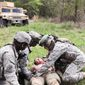 A health care specialist from C Company, 407th Brigade Support Battalion, 2nd Brigade Combat Team, 82nd Airborne Division, and a combat medical technician from the British 16 Air Assault Brigade, load a British Paratrooper with simulated injuries onto a litter during Combined Joint Operational Access Exercise 15-01 on Fort Bragg, N.C., April 18, 2015. Throughout CJOAX 15-01, medical teams from both forces trained on how to seamlessly integrate their respective life saving capabilities into a multinational force. CJOAX 15-01 is the largest bilateral exercise held on Fort Bragg in almost 20 years. (Photo by Sgt. Flor Gonzalez, 22nd Mobile Public Affairs Detachment)