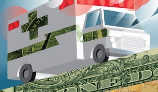 Illustration on the need for aid to the states by Linas Garsys/The Washington Times