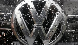 In this Friday, Nov. 18, 2016 file photo the Volkswagen logo is photographed through raindrops on a window in Frankfurt, Germany.   (AP Photo/Michael Probst, file)  **FILE**