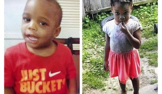 These undated photos released by the Tulsa (Oklahoma) Police Department show Tony, left, and Miracle Crook. Authorities searching for the two Tulsa, Okla., children who have been missing since Friday, May 22, 2020, were knocking on doors and stopping drivers at their apartment complex Monday, May 25. (Tulsa Police Department via AP)