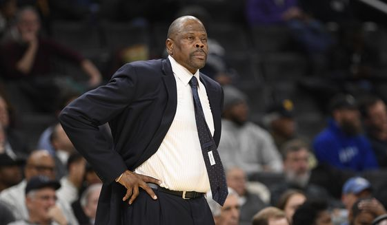 In this Wednesday, Feb. 5, 2020, file photo, Georgetown head coach Patrick Ewing looks on during the first half of an NCAA college basketball game against Seton Hall, in Washington. In a statement issued by Georgetown on Friday, May 22, 2020. (AP Photo/Nick Wass, File) **FILE**