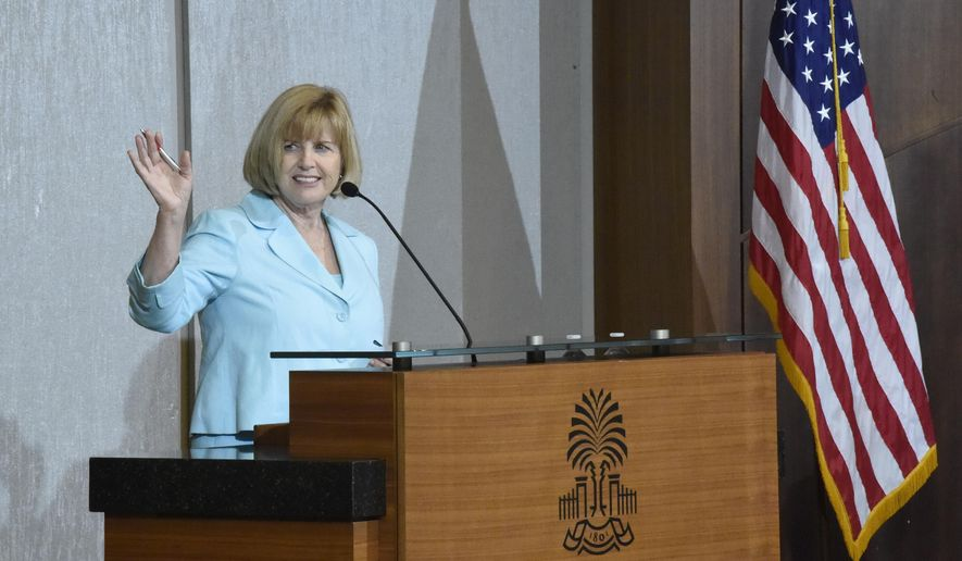 South Carolina Education Superintendent Molly Spearman addresses the initial gathering of accelerateSC, a group tasked with advising Gov. Henry McMaster on safely scaling the state's economy back up amid the new coronavirus outbreak on Thursday, April 23, 2020, in Columbia, S.C. (AP Photo/Meg Kinnard)