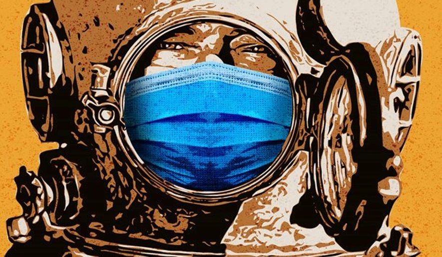 War of Masks Illustration by Greg Groesch/The Washington Times