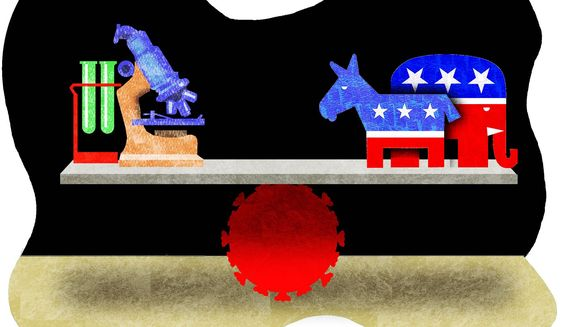 Illustration on science versus politics during the pandemic by Alexander Hunter/The Washington Times