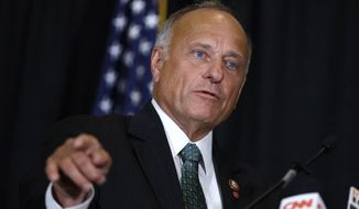In this Aug. 23, 2019, file photo, Rep. Steve King, R-Iowa, speaks during a news conference in Des Moines, Iowa. King is on the outs with a significant bloc of his long-reliable conservative base, but not for almost two decades of incendiary utterances about abortion, immigrants and Islam. (AP Photo/Charlie Neibergall, File)