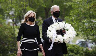 Democratic presidential candidate, former Vice President Joe Biden and Jill Biden, arrive to lay a wreath at the Delaware Memorial Bridge Veterans Memorial Park, Monday, May 25, 2020, in New Castle, Del. (AP Photo/Patrick Semansky) ** FILE **