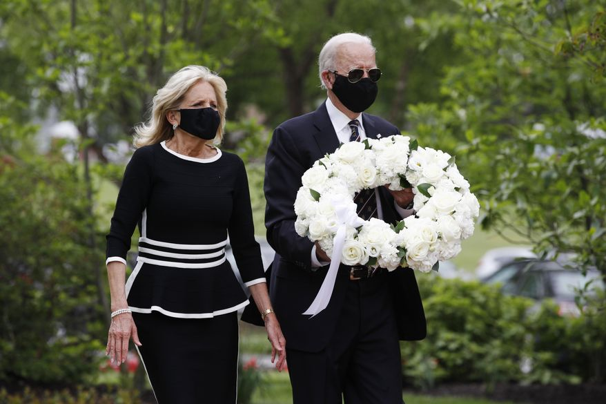 Democratic presidential candidate, former Vice President Joe Biden and Jill Biden, arrive to lay a wreath at the Delaware Memorial Bridge Veterans Memorial Park, Monday, May 25, 2020, in New Castle, Del. (AP Photo/Patrick Semansky) ** FILE **
