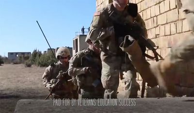 Veterans Education Success' TV ads this week try to convince President Trump to let Congress undo his own regulation at the Department of Education and reinstate an Obama regulation.. (Screen capture of video ad)
