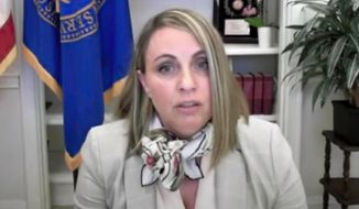 In this image from video, acting Health and Human Services acting inspector general Christi Grimm testifies during a remote hearing of the House Oversight Committee, Tuesday, May 26, 2020. (House Television via AP) **FILE**