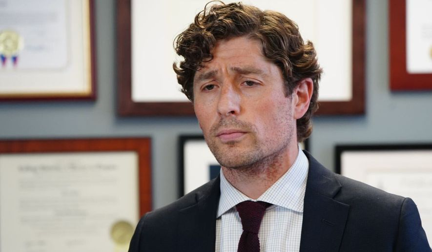 Minneapolis Mayor Jacob Frey calls on Hennepin County attorney Mike Freeman to charge the arresting officer in the death of George Floyd as he speaks during a news conference Wednesday, May 27, 2020 at City Hall in Minneapolis. (Evan Frost/Minnesota Public Radio via AP)