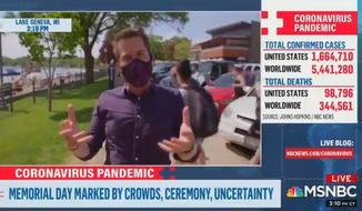 MSNBC correspondent Cal Perry was called out during a live segment over Memorial Day weekend (May 25, 2020) after he attempted to shame a Wisconsin passerby for not wearing a mask, before the man quickly pointed out that neither was Mr. Perry's cameraman. (screengrab via MSNBC)