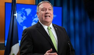 Secretary of State Mike Pompeo speaks during a press briefing at the State Department on Wednesday, May 20, 2020, in Washington. (Nicholas Kamm/Pool Photo via AP) ** FILE **