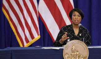 District of Columbia Mayor Muriel Bowser speaks during a news conference, Wednesday, May 27, 2020, in Washington. (AP Photo/Jacquelyn Martin) ** FILE **