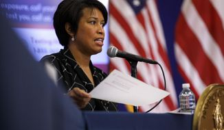 District of Columbia Mayor Muriel Bowser speaks during a news conference, Wednesday, May 27, 2020, in Washington. Bowser announced the start of the Phase 1 response to the coronavirus in Washington is to begin Friday, May 29. (AP Photo/Jacquelyn Martin)