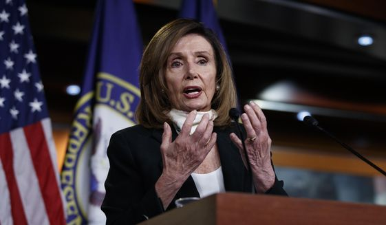 House Speaker Nancy Pelosi of Calif., speaks during a news conference on Capitol Hill in Washington, Thursday, May 28, 2020. (AP Photo/Carolyn Kaster) ** FILE **