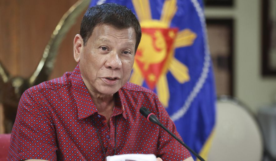 In this photo provided by the Malacanang Presidential Photographers Division, Philippine President Rodrigo Duterte, talks during his speech at the Malacanang presidential palace in Manila, Philippines, Thursday May 28, 2020. The government continues to ease the lockdown which was set to prevent the spread of the new coronavirus in the country. (Ace Morandante/ Malacanang Presidential Photographers Division via AP) **FILE**