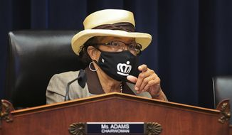 House Education and Labor Committee Workforce Protections Subcommittee Chair Rep. Alma Adams, D-N.C., wears a face mask during a House Committee on Education and Labor Subcommittee on Workforce Protections hearing examining the federal government's actions to protect workers from COVID-19, Thursday, May 28, 2020, on Capitol Hill in Washington. (Chip Somodevilla/Pool via AP) ** FILE **