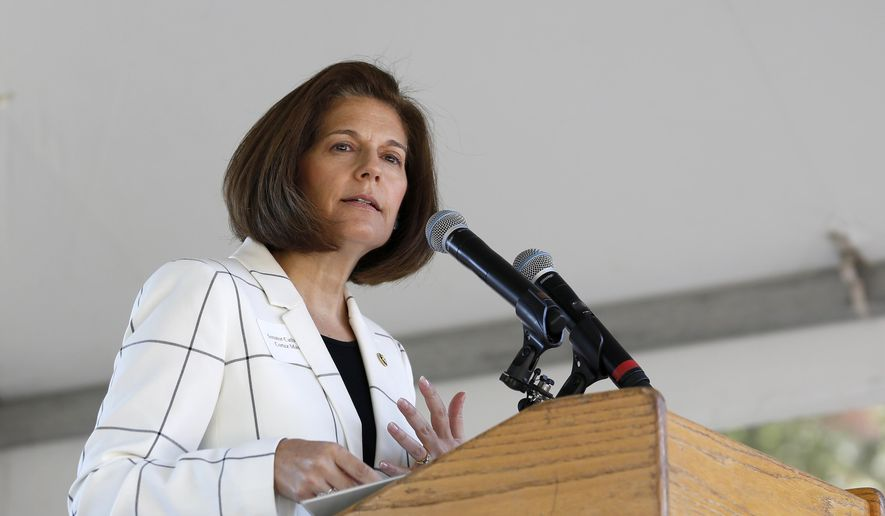 In this Aug. 20, 2019, file photo Sen. Catherine Cortez Masto, D-Nevada, speaks at the 23rd Annual Lake Tahoe Summit, Tuesday, at South Lake Tahoe, Calif. Ms. Cortez Masto is leading other Democrats in calling for an 18-month extension of Temporary Protected Status for more than 400,000 migrants from six countries who currently are protected from deportation under the program. (AP Photo/Rich Pedroncelli, File)  **FILE**