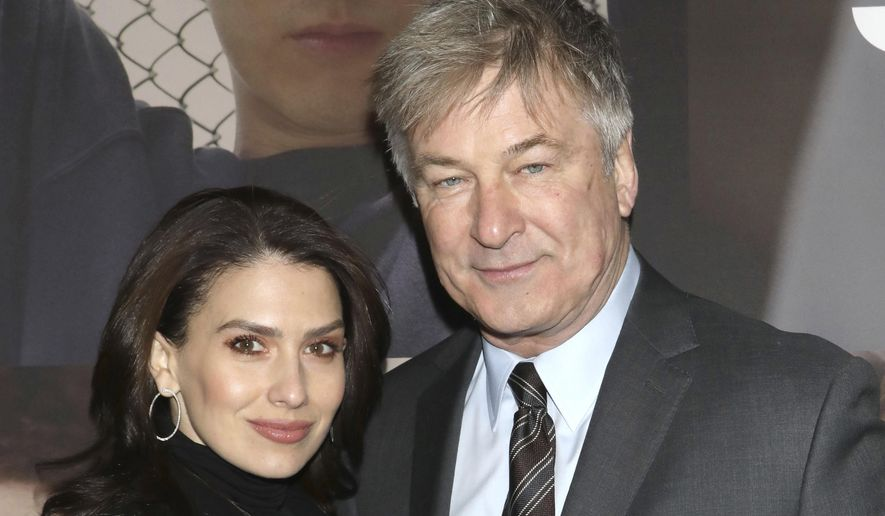 """In this Feb. 20, 2020 file photo, Hilaria Baldwin, left, and Alec Baldwin attend the Broadway opening night of """"West Side Story"""" in New York. Alec Baldwin returns as host of the game show """"Match Game,"""" Sunday on ABC. (Photo by Greg Allen/Invision/AP, File)"""
