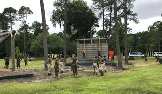 Female Marines go through one of the obstacles in the so-called confidence course at Parris Island Recruit Depot, S.C., on May 27, 2020, that is designed to make them face their fears and gain confidence. In ways big and small, the virus is affecting training at the Marine Corps' Parris Island Recruit Depot and across the military. (AP Photo/Lolita Baldor) **FILE**
