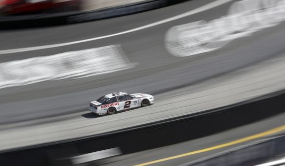 Brad Keselowski (2) drives during a NASCAR Cup Series auto race at Bristol Motor Speedway Sunday, May 31, 2020, in Bristol, Tenn. (AP Photo/Mark Humphrey)
