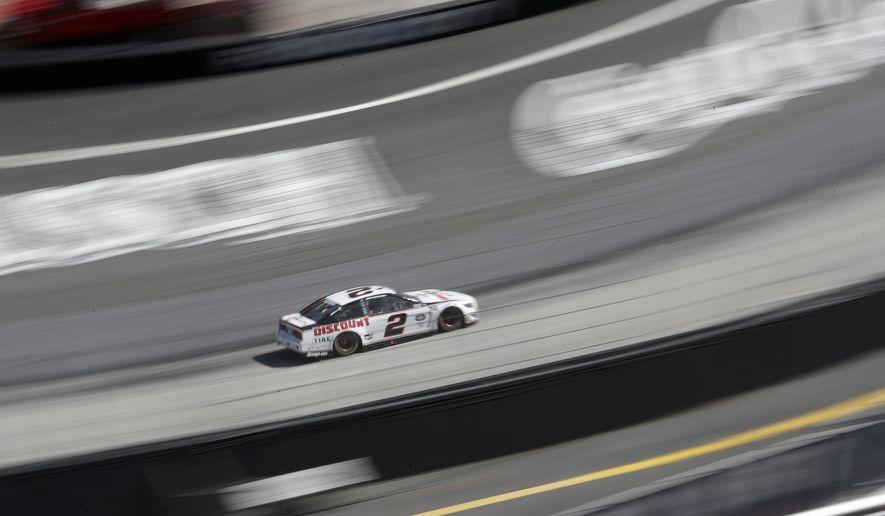 Brad Keselowski (2) drives during a NASCAR Cup Series auto race at Bristol Motor Speedway Sunday, May 31, 2020, in Bristol, Tenn. (AP Photo/Mark Humphrey)
