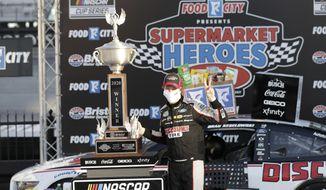 Brad Keselowski (2) celebrates after winning a NASCAR Cup Series auto race at Bristol Motor Speedway Saturday, May 30, 2020, in Bristol, Tenn. (AP Photo/Mark Humphrey)