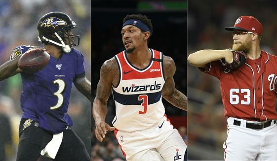 This triple combination file photo shows Baltimore Ravens quarterback Robert Griffin III, Washington Wizards guard Bradley Beal and Washington Nationals pitcher Sean Doolittle, all of whom spoke out on social media about the death of George Floyd and the ensuing protests in May 2020. (AP Photos/Nick Wass, Gail Burton) ** FILE **