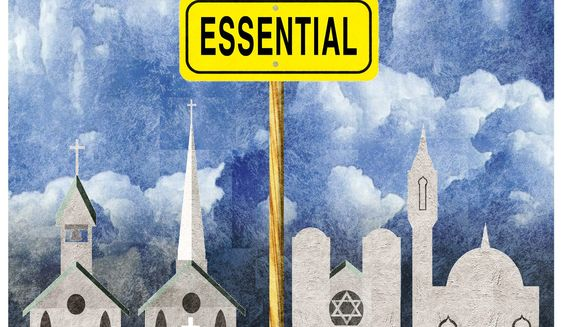Illustration on the essential nature of freedom of worship by Alexander Hunter/The Washington Times