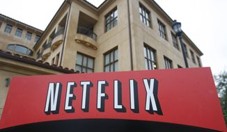 This Jan. 29, 2010, photo shows the company logo and view of Netflix headquarters in Los Gatos, Calif. (AP Photo/Marcio Jose Sanchez) **FILE**