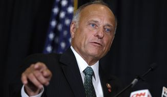 Rep. Steve King, R-Iowa, speaks during a news conference in Des Moines, Iowa.  (AP Photo/Charlie Neibergall, File)