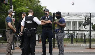 Members of the U.S. Secret Service stand near Lafayette Park across from the White House, Tuesday, June 2, 2020, in Washington, following protests over the death of George Floyd, who died after being restrained by Minneapolis police officers. (AP Photo/Patrick Semansky)