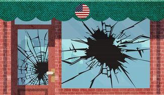 American Storefront and riots Illustration by Greg Groesch/The Washington Times