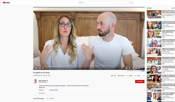 Myka Stauffer updates veiwers on the family. (https://www.youtube.com/watch?reload=9&v=ozthKDdSMZQ)